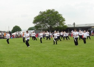 Performing broad sword on the Village Green at the Bath & West